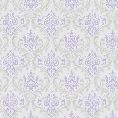 Lilac and Silver Gray Damask - This timeless damask pattern features pastel lilac and silver gray on a soft 100% cotton twill fabric. This exquisite fabric creates an absolutely gorgeous nursery for your little princess.