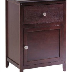 "Winsome - ""Winsome Wood Night Stand/Accent Table with Drawer & Cabinet, Antiqu..."" - ""Night Stand with simple design and plenty of storage include one drawer and cabinet. Satin Nickle knob. Available in four finishes. Ready to Assemble.Dimensions (W x L x H): 14.96"""" x 18.9"""" x 25""""Weight: 18 lbs.Wood Night StandWood night stand finished in Antique WalnutDrawer and door with pull for storageSturdy constructionEasy to assemble with parts and tools included"""