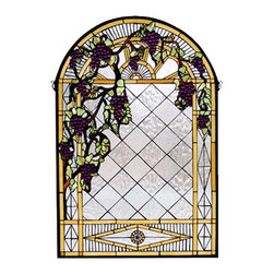 Meyda Tiffany - Meyda Tiffany Grape Diamond Trellis Tiffany Window X-84066 - From the Diamond Trellis Collection, this Meyda Tiffany Tiffany window features a diamond trellis pattern with grapes that appear to be hanging from a bamboo-like frame. The light tones of the design allow the grapes to pop against the neutral backdrop, making this an excellent addition to any home.