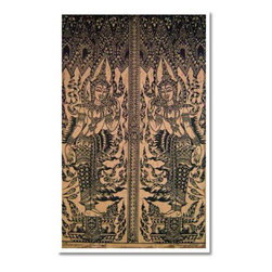 Oriental-Décor - Temple Etching - An inspiring Japanese print, this detailed and artistic work of art portrays two Buddha-like figures mirroring one another in a temple setting. Set this Asian print anywhere in your home for fabulous Oriental decoration.
