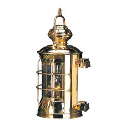 """14.5"""" Brass Masthead Electric Lantern - The brass masthead lantern measures 14.5""""H. It is made of polished brass  is available in electric only. It will add a definite nautical touch to wherever it is placed and is a must have for those who appreciate high quality nautical decor. It makes a great gift, impressive decoration and will be admired by all those who love the sea."""
