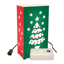 LumaBase Luminarias - Electric Luminaria Kit with LumaBases Christmas Tree - Electric luminarias will create festive lighting for your special event. They are weather resistant, so they can be enjoyed for many seasons. Simply stretch the 30-ft lights cord and position each of the light bulbs through the hole in the back of each lantern. The anchor stakes will secure the lantern into the ground. The included LumaBases are a weighted base that will weight the lantern on hard surfaces.They can be used indoors or out. The durable lanterns assemble easily and fold flat for compact storage. Included: 10 Plastic Lanterns, 10 C7-5 Watt Bulbs, 1 UL Listed 30' Electric Cord with End to End Connectors, 10 Anchor Stakes, 10 LumaBases