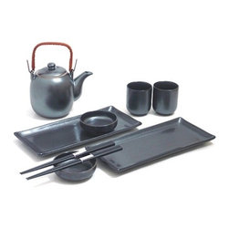 MySushiSet.com - 9 PCBlack Crystal Sushi and Tea Set - This lovely Japanese sushi set include service for tea as well making it a terrific gift idea for a wedding or corporate gift idea. This handsome black crystal sushi and tea set offers a service for two will fit into any home decor.