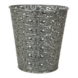 Oriental Furniture - Wrought Iron Silver Waste Basket - This eye-grabbing basket features a delicate design and vivid color for adding a bold accent to the modern home. The sides are ornately filigreed in a pattern reminiscent of sunflowers, making this wastebasket a fun and practical way to add a splash of color to your home or office.