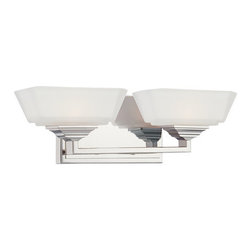 Kovacs - Kovacs P5972 2 Light Bathroom Fixture with Rectangular Etched Opal Glass Shade f - George Kovacs P5972 Two Light Bath Vanity with Rectangular Etched Opal Glass Shade from the Clean CollectionClean lines and sharp design, the Clean 2 Light Bath Vanity is sure to please.Features: