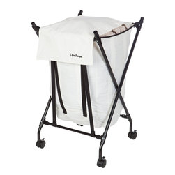 Lifter Hamper - Lifter Hamper - The Lifter Hamper™ is not your ordinary laundry hamper. This innovative laundry hamper allows it to drop down with the weight of laundry and rise to the top as laundry is removed. The Lifter Hamper™ makes that backbreaking chore easy to do. Once you've tried the Lifter Hamper™ you'll never want to go back to your old laundry hamper.