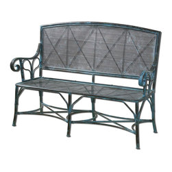 Uttermost - Generosa Forged Iron Bench - Sturdy, Forged Iron Bench In Turquoise Crackle With Oxidized Black Undertones. Seat Height Is 17 in. .