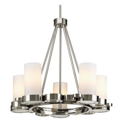 Progress Lighting - Progress Lighting P4647-09 5-Light Chandelier With Opal Etched Glass Shades - Progress Lighting P4647-09 5-Light Chandelier With Opal Etched Glass Shades