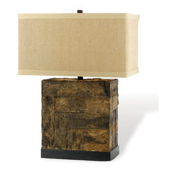 Kathy Kuo Home - Bark Rustic Lodge Square Linen Table Lamp - Is that a tree trunk with a lampshade atop it? No, fool, that's an actual lamp. This striking piece will not only light up your room, it'll bring it's own bark-worthy personality.
