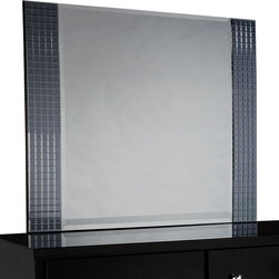 Standard Furniture - Standard Furniture Marilyn Black Rectangular Mirror in Glossy Black - For a bit of girly glam, Marilyn offers trendy modern styling in shiny black with jeweled hardware and sparkling mirrored tiles for a bit of bling.