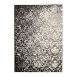 "Kathy Ireland - Kathy Ireland KI02 Santa Barbara KI201 7'10"" x 10'10"" Grey Area Rug 09761 - Russia's opulent architecture, breath-taking farm lands and bewitching white nights come to life in this dazzling Damask pattern, rendered in deeply dramatic, glittering hues. An enthralling plush shag design and an incredibly lush pile impart an extravagant look and feel with undeniable sensual appeal."