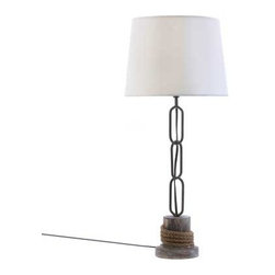 "n/a - Nautical Rope Trim Table Lamp - Add a nautical feel to any room with this maritime-inspired lamp.  Long links of anchor chain stretch from a rope-wrapped pier pile to a crisp lampshade that mimics the color of whitecaps on the waves.  Iron and hemp shade.  UL recognized.  40 watt light bulb.  Light bulb not included.  Lampshade 11"" diameter and 10"" high, base is 5"" in diameter."