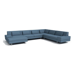 True Modern - Hamlin Corner Sectional w/ Chaise-Calvin Charcoal - The Corner Sectional sofa with chaise is a great way to fill that hard to decorate large modern room. It certainly takes a big space to handle this modern sofa but with all these seating options you will be comfy and in style. This oversized sofa has a medium density cushion which allows you to sit down into this comfortable and modern shape. The down, feather filed kidney shaped back pillow creates a soft and cozy relaxing everyday sofa. The stitching on the entire sofa is done with a classic baseball stitch. This same stitch is used to create a cross pattern for both the back pillows and the entire back rest. Works great in the home but could also be used in a commercial environment where durability is needed. The legs are made of brushed nickel, steel tube . This collection comes in 6 standard colors including Chocolate, Dolphin Grey, Mouse (khaki grey), Ivory, Charcoal, and Sea Blue.