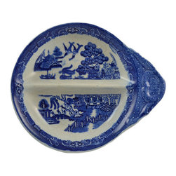 Lavish Shoestring - Consigned Blue & White Appetizers Serving Double Bowl - This is a vintage one-of-a-kind item.