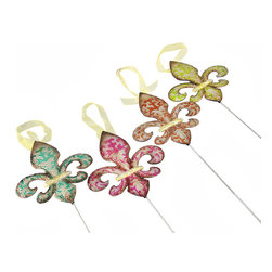 Manual - Set of 4 Colorful Metal Fleur de Lis Garden Stakes - These cheerful fleur de lis accents brighten your day in a variety of ways. Use them as stakes in large planters, flower beds, or gardens, display them as hanging ornaments, or simply hang them on the wall. Made of metal, each measures 6 1/4 inches high, 5 1/4 inches wide, and has glitter accents. The included stakes are 13 inches long, and each fleur de lis is threaded with a sheer yellow ribbon hanger. They are a great addition to your porch or patio, and they make a great housewarming gift.