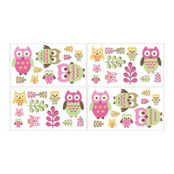 Happy Owl Wall Decal Set of 4 Sheets by Sweet Jojo Designs