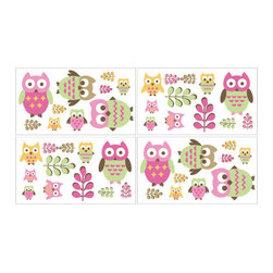 Sweet Jojo Designs - Happy Owl Wall Decal Set of 4 Sheets by Sweet Jojo Designs - The Happy Owl Wall Decal Set of 4 Sheets by Sweet Jojo Designs, along with the bedding accessories.