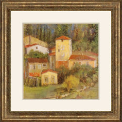 """Paragon Decor - Tuscany Village Artwork - Brighten up those boring walls with this colorful piece, """"Tuscany Village."""" The piece features an artistic rendition of a beautiful quaint village tucked into a Tuscan hillside. The piece is composed of warm burnt siennas and rusts, mustard yellows, and soft powder blues and greens with dark olive and chocolate brown tones. It is surrounded by a white matte and placed within an antiqued golden frame. This piece measures 42 inches wide, 2 inches deep, and 42 inches high."""