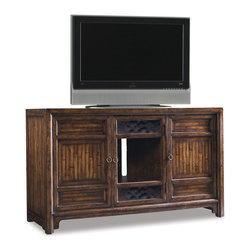 Hooker Furniture - Entertainment Console 60 inch 643-55-455 - Two wood doors with one adjustable shelf behind and one glass door with two adjustable shelves behind; ventilation; three electrical outlets; levelers. Seeded glass door.
