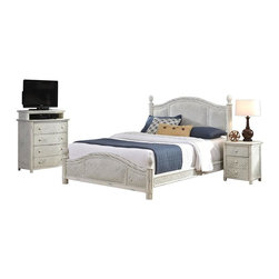 HomeStyles - Queen Bed, Night Stand and Media Chest - Design features natural rattan woven wicker and mahogany solids. Hand rubbed white finish. Headboard and footboard contain interior padding for additional comfort. Leather-wrapped accents. Bed: 65.25 in. W x 89 in. D x 53 in. H. Night Stand: 21.25 in. W x 17.75 in. D x 24.75 in. H. Media Chest: 36 in. W x 18 in. D x 42 in. HMarco Island Queen Bed, Night Stand, and Media Chest by Home Styles is island inspired by displaying a rich blend of materials including natural rattan woven wicker, mahogany solids, and veneers. Accentuated with a weather-worn and hand rubbed white finish. The design encompasses a twisted rattan edging with intricate woven rattan panels, solid mahogany posts, carved pineapple finials, and leather wrapped accents. Bed includes headboard, footboard, and rails. Headboard and footboard contain interior padding for additional comfort. Night stand features three large storage drawers with easy-glide side mounted metal guides, and matching white sculpted hardware. Media chest features include four large storage drawers with easy-glide side mounted metal guides, top drawer is felt-lined, cable access, and matching white sculpted hardware. Set includes Queen bed, night stand, and media chest. Assembly required.