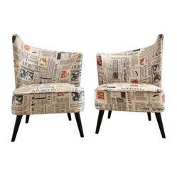 Armen Living Elegant Accent Chair with Flaired Back - Newspaper Fabric