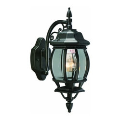 DHI-Corp - Canterbury Outdoor Downlight, 6-inch by 17-inch, Black Die-Cast Aluminum - The Design House 505545 Canterbury Outdoor Downlight has an early American design that complements gothic and traditional architecture. This fixture features a black die-cast aluminum finish with clear beveled glass. The finish adds a rustic charm to any patio or porch and illuminates the night with steady glare-free light. This light is perfect for patios and porches and provides beautiful warm light. This lantern is wall mounted and weighs 3.86-pounds. Use this light to deter burglars and thieves and maintain a well-lit porch. It uses a 100-watt bulb (sold separately) and is UL listed to ensure the highest quality possible. The Design House 505545 Canterbury Outdoor Downlight comes with a 10-year limited warranty to the original purchaser to be free from defect in materials and workmanship. Design House offers products in multiple home decor Categories including lighting, ceiling fans, hardware and plumbing products. With years of hands-on experience, Design House understands every aspect of the home decor industry, and devotes itself to providing quality products across the home decor spectrum. Providing value to their customers, Design House uses industry leading merchandising solutions and innovative programs. Design House is committed to providing high quality products for your home improvement projects.