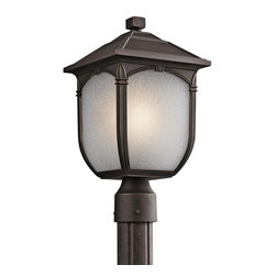 Kichler Lighting - Kichler Lighting 49431RZ Lakeway Transitional Outdoor Post Lantern Light - This classic 1 light mounted outdoor post from the Lakeway™ collection showcases rounded edges and traditional detailing. It features a Rubbed Bronze™ finish and beautiful Etched Seedy Glass to create an elegant accent for any space.