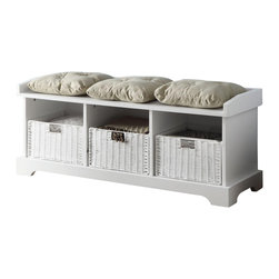Adarn Inc - Casual Entryway Storage Bench w/ 3 Cushions Built-in Woven Baskets, White - This storage bench features a casual look and functional storage capabilities that you're sure to love. Three built in compartments include natural woven baskets for stylish storage. Toss shoes, mittens, hats and accessories inside and slide back into place to keep everything neatly out of sight. Woven baskets feature built in handles that let kids get in on the organization. A framed seat base keeps three linen colored cushions with tufted button details neatly in place and provides comfortable seating for putting on shoes. Lighten up your laundry room or entryway with the simple white finish, or add texture and depth to any space with the inky black finish.