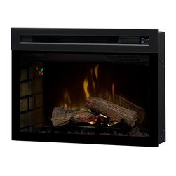 Dimplex 25-In Multi-Fire XD Plug-In Electric Fireplace Insert - PF2325HL - The Dimplex 25-In Multi-Fire XD Plug-In Electric Fireplace Insert - PF2325HL boasts the latest advancement in flame technology, features and energy saving efficiency. First thing to note is the authentic look of the log set. This is achieved by molding the forms off natural fire wood which are then charred for added realism. The firebox features the latest Multi-Fire XD flame technology that accurately reproduces the movement and appearance of a real burning fire. It truly looks as if the flames are rising up from the logs & glowing ember bed. Adjust the color of the lower flame bed to any of the color theme choices (Red, Green, Blue, Purple) for a customized look. The firebox also features an integrated ceramic heater that creates supplemental heat for rooms up to 1000 Sq. Ft. This ceramic heat is similar to infrared, but is more energy efficient, using 11% less energy. The new ECO mode offers even more efficiency when it reduces power consumption by 33%, limiting heat output to 750W and resulting in a quieter operation. The new gWave technology is an exclusive feature to Dimplex which allows you to turn your fireplace on/off with just the wave of your hand in front of the unit.