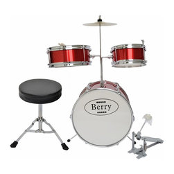 Berry Toys - Berry Toys Kids Medium Drum Set - Red Multicolor - MKMU-3KM-RD - Shop for Toy Instruments from Hayneedle.com! Now is the time for your little one to begin working with the Berry Toys Kids Medium Drum Set - Red. This drum set gets kids involved in music education early when their spongelike learning potential is at its peak (and their bedtime is still conveniently well before the rest of the neighborhood's). Children who take up instruments early are shown to develop not just musical aptitude quickly but an ability to focus on and absorb other disciplines as well. This drum set allows kids to explore sound through a natural percussive inclination which hammers home cause-and-effect relationships. This complete drum kit comes with absolutely everything your child needs to play right away including sticks throne and drum key.Drum MeasurementsBase drum: 14-in. diam.Tom: 10-in. diam.Tom: 8-in. diam.Cymbal: 8-in. diam.Base drum pedal: 10L x 10H in.Throne: 9 diam. x 14H in.; seat: 2 in. thickAbout Berry ToysBased in Chino Hills California Berry Toys is a leading manufacturer of children's toys. Berry Toys aims to educate children through play and their toy selection includes play kitchens play foods musical instruments play tools and more. If you want affordable pricing quality customer service and educational toys that are manufactured according to the highest standards Berry Toys can deliver.