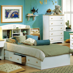 "South Shore - Newbury Storage Box Bed w Side Drawers, Pure - The Newbury Storage Bed Box offers an unbeatable combination of style, storage and practicality.  Kids love the three under-bed drawers that make room cleanups a breeze.  It's constructed of sturdy particleboard finished in pure white laminate with Maple finish trim.  A box bed with three roomy storage drawers resting beneath the frame, this bed offers up the ultimate in organization features.  Get additional storage space without taking away from existing room space. * Manufactured from eco-friendly, EPP-compliant laminated particle boardcarrying the Forest Stewardship Council (FSC) certification. 3 drawer bed box unit. Sintec drawer glides. Constructed of particleboard with a laminate finish. Maple finish wood knobs. Assembly required. 5-year manufacturer's limited warranty. Weight capacity: 500 lbs. (same for all mates beds). Inside drawer dimensions: 4.5"" H x 22.5"" W x 16.5"" D. Overall Dimensions: 16"" H x 41"" W x 77"" D"
