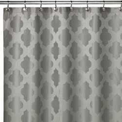 Westport Home Fashions - Tangiers 72-Inch x 72-Inch Shower Curtain in Sea Foam - This shower curtain features a fashionable moroccan influenced woven jacquard design on polyester. A pleasant and sophisticated motif, this shower curtain is a classy addition to any bathroom decor.