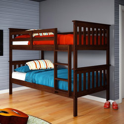 Donco Kids - Donco Kids Twin Over Twin Mission Bunk Bed - 120-3H T/T - Shop for Bunk Beds from Hayneedle.com! With a classic Mission-inspired design and a full range of finish options the Donco Kids Twin Over Twin Mission Bunk Bed will be an awesome addition to any kid s bedroom. The bunk bed is crafted of solid pine and it comes complete with a top guard rail ladder and a total of 26 slats. Whether siblings are sharing a room or sleepover guests need a place to snooze this bunk bed is a must-have. Mattresses not included. About Donco Trading Co. Headquartered in Fort Worth Texas Donco Trading Company has made youth furniture their specialty. The family-owned and -operated business carries a full line of day beds platform beds bunk beds and more - all reasonably priced. They distribute to and work directly with small business owners specialty stores and more in locations throughout the country. In addition to the Forth Worth office they also have a distribution center in Kenosha Wisconsin and showrooms in Tupelo Mississippi and High Point North Carolina.