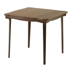 Stakmore - Scalloped Edge Wood Folding Card Table in War - Traditional flowing scalloped edge. Can easily store in closet or under bed. Steel folding mechanism. Folds up to 3 in. deep for storage. Made from solid wood. 32 in. L x 32 in. W x 29.13 in. H