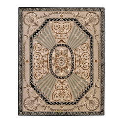 "Nourison - Nourison Versailles Palace VP03 9'6"" x 13'6"" Beige Area Rug 78065 - Alternating rays of light and shadow in a silvery gray radiate from a center medallion in this stately design conceived in warm tones of luxurious sable and beige. Floral motifs add an elegant flourish with hints of delicate sage green. Draped vines are accentuated by stars inside the classic Greek Key border."