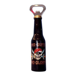 """Handcrafted Model Ships - No Guts No Glory Magnet Bottle Opener 6"""" - Pirate Bottle Opener - The pirate themed No Guts No Glory Magnet Bottle. Opener 6 inch is the perfect addition to anyone who has an affinity for the pirate lifestyle. This finely crafted bottle opener will open even the most difficult of bottles with ease. This bottle opener is fully function, has a magnet attached in the back of bottle opener, and is a great pirate gift for a coworker, classmate, friend, or family member."""