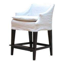 EcoFirstArt - ARNETT COUNTER STOOL - Raise the bar. Sidle up to the breakfast counter or home bar with this wooden stool. It features a square footprint for a firm stance and can be used with slipcovers that allow you to change up your look according to the season (or your mood).