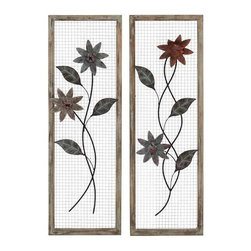 Benzara - Beautiful Floral Metal Wood Wall Decor Set of 2 with Wire Mesh Background - Beautiful Floral Metal Wood Wall Decor Set of 2 with Wire Mesh Background