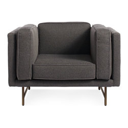 Blu Dot - Blu Dot Bank Lounge Chair, Lava-Brass - Stately proportions, piped cushions and a generous seat depth will have you holding court. Choose either blackened metal or brass legs. Available in four fabrics options