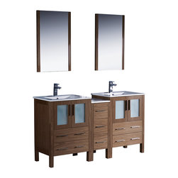 """Fresca - Fresca Torino 60"""" Walnut Brown Double Sink Vanity w/ Side Cabinet & Sinks - Dimensions of vanity:  60""""W x 18.13""""D x 33.75""""H. Dimensions of mirror:  20.75""""W x 31.5""""H x 1.25""""D. Materials:  Plywood w/ veneer, ceramic sinks w/ overflow. Single hole faucet mounts. P-traps, faucets, pop-up drains and installation hardware included.  Fresca is pleased to usher in a new age of customization with the introduction of its Torino line.  The frosted glass panels of the doors balance out the sleek and modern lines of Torino, making it fit perfectly in either town or country decor.  Available in the rich finishes of Espresso, Glossy White, Light Oak and Walnut Brown."""