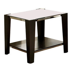 Steve Silver Furniture - Steve Silver Newman End Table - Add a contemporary feel to your entertaining area with the Newman End Table. This glass top table is completed with espresso block legs and table base with a silver trim.