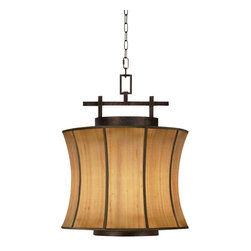 Fine Art Lamps - Fusion Small Pendant, 233449ST - This pendant ceiling light is a flawless fusing of contemporary design and Asian aesthetics. An oxidized bronze patina and shapely shimmering dupioni silk shade come together for timeless beauty.