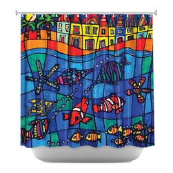 DiaNoche Designs - Shower Curtain Artistic - Sea Life - DiaNoche Designs works with artists from around the world to bring unique, artistic products to decorate all aspects of your home.  Our designer Shower Curtains will be the talk of every guest to visit your bathroom!  Our Shower Curtains have Sewn reinforced holes for curtain rings, Shower Curtain Rings Not Included.  Dye Sublimation printing adheres the ink to the material for long life and durability. Machine Wash upon arrival for maximum softness on cold and dry low.  Printed in USA.