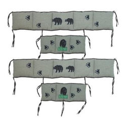 Patch Magic - Bear Country Crib Bumper Covers - 100% Cotton. 4 Pieces: Head, Feet, and side bumpers. Handmade, hand quilted. Machine washable. Line or flat dry only
