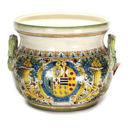"Artistica - Hand Made in Italy - Majolica: Extra Large Cachepot ""Cornucopia:"" Design with Crest - Majolica Collection:"
