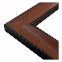 The Frame Guys - Wide Scooped Walnut with Black Lip Picture Frame-Solid Wood, 10x10 - *Wide Scooped Walnut with Black Lip Picture Frame-Solid Wood, 10x10