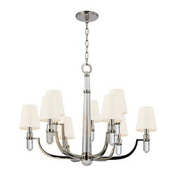 Hudson Valley - 9 Light ChandelierDayton Collection - Dayton's strong arms hold smooth crystal columns, for a look of confident glamour.  The chandelier's central crystal teardrop showcases the material's pristine beauty.  Softly textured tailored shades balance the sheen of Dayton's glass and metal.