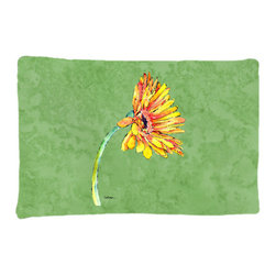 Caroline's Treasures - Gerber Daisy Orange Fabric Standard Pillowcase Moisture Wicking Material - Standard White on back with artwork on the front of the pillowcase, 20.5 in w x 30 in. Nice jersy knit Moisture wicking material that wicks the moisture away from the head like a sports fabric (similar to Nike or Under Armour), breathable performance fabric makes for a nice sleeping experience and shows quality. Wash cold and dry medium. Fabric even gets softer as you wash it. No ironing required.