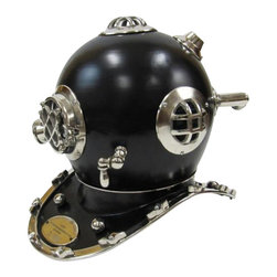 """Handcrafted Model Ships - Solid Brass Mark V Black Divers Helmet 17"""" - MK V Helmet - The Solid Chrome Mark V Black Divers Helmet 17"""" is great for nautical desktop decor or sits well on a mantle. The diver's helmet has a beautiful finish. Place the Chrome Mark V Black Diver's Helmet can be placed gently on the floor, on a desk, or even on top of a mantle to prominently display the craftsmanship of this nautical masterpiece."""