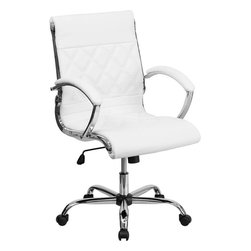 Flash Furniture - Mid-Back Designer White Leather Executive Office Chair with Chrome Base - This elegant office chair will add an upscale appearance to your office with its attractive stitched seat and back. The comfort molded seat has built-in lumbar support and features a locking tilt mechanism for a mid-pivot knee tilt. If you're looking for a modern office chair that provides a sleek look, then the Designer Upholstered Leather Office Chair by Flash Furniture delivers.